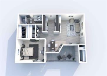 1 Bedroom B 1 Bath Floor Plan at Sierra Park, Dallas, 75228