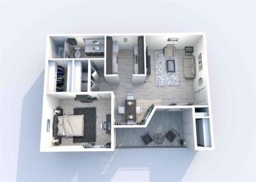 1 Bedroom A 1 Bath Floor Plan at Sierra Park, Dallas, TX