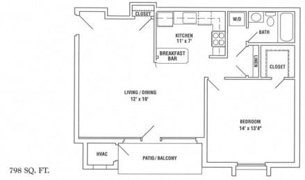 One bedroom floor plan near Quantico Base