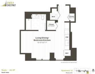 Studio Floorplan at State & Chestnut Apartments, Chicago, Illinois