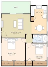 Two Bedroom One Bath - Encinal Oaks Floor Plan at Downtown Menlo Park Leasing Center, Menlo Park, California