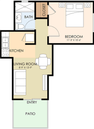 Junior One Bedroom One Bath - Greenwood Floor Plan at Latham Square Leasing Center, Mountain View, California