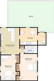 2 Bedroom 1 Bath Floor Plan at Latham Square Leasing Center, Mountain View, CA, 94041