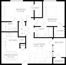 2 Bedroom Patio Floor Plan