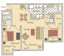 2 Bedroom 2 Bathroom Floorplan