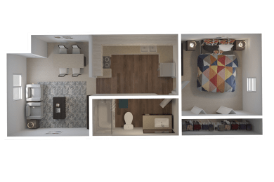 Townsgate Apartments 1 Bedroom Floor Plan