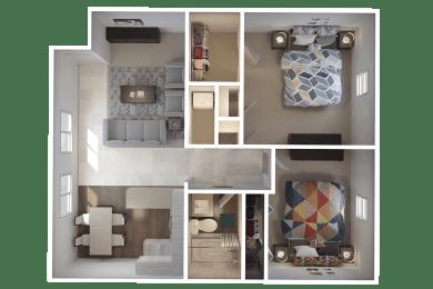 Townsgate Apartments 2 Bedroom Floor Plan