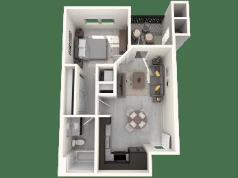 Hardy One Bedroom Floor Plan A1 592 SqFt Floor Plan at The Premiere at Eastmark  Apartments, P.B. BELL, Mesa, AZ