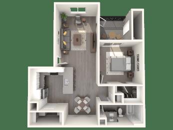A1 One Bedroom Floor Plan at Zaterra Luxury Apartments, P.B. Bell, Chandler, Arizona