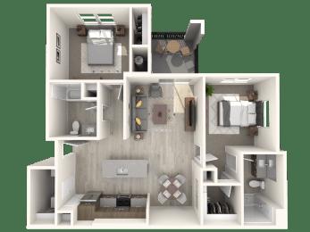B1 Two Bedroom Floor Plan at Zaterra Luxury Apartments, P.B. Bell, Chandler, AZ 85286
