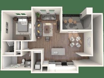 L1 One Bedroom Floor Plan at Zaterra Luxury Apartments, P.B. Bell, Arizona