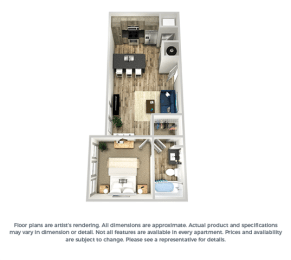 The azure 1-bed, 1-bath floor plan layout at our apartments in Orlando, FL