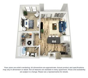 The cobalt 1-bed, 1-bath floor plan layout at Coda Orlando