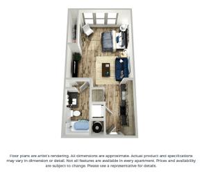 The violet studio floor plan layout at Coda Orlando apartments