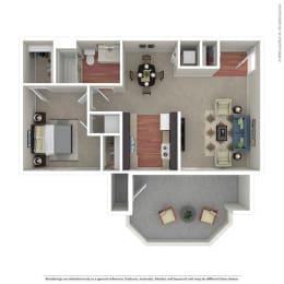 1 Bedroom / 1 Bath Floor Plan at The Hills at Quail Run, Riverside, CA