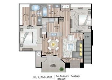 The-Campania Floor Plan at Ascent at The Galleria, California