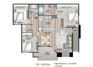 The-Verona Floor Plan at Ascent at The Galleria, Roseville, CA, 95678