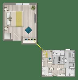 Floor Plan  Furnished Co-Living Master Suite