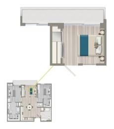 Floor Plan Ascent Furnished Co-living Studio Suite B1B