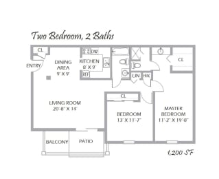 Two Bedroom, 2 Baths