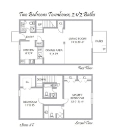 Two Bedroom Townhouse, 2 ½ Baths
