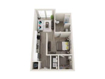 A1-A 1 Bed 1 Bath 608 Sqft Floor Plan at Link Apartments® Grant Park, Atlanta, Georgia