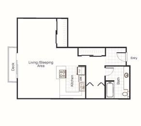 Newberry Studio at Newberry Square Apartments, Lynwood WA