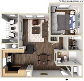 40a - 1x1 Floor Plan, at Tavera, CA, 91913