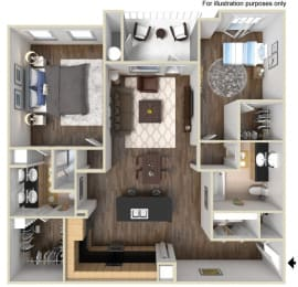 40c1 - 2x2 Floor Plan, at Tavera, 1465 Santa Victoria Rd