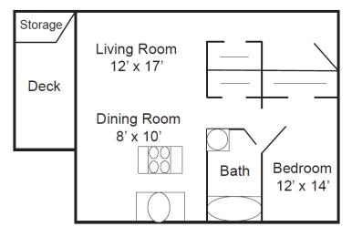 Floor Plan  The Bluffs at Evergreen_One Bedroom Floorplan