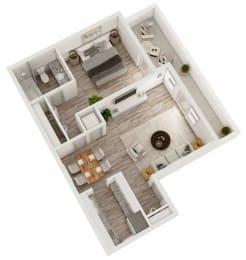 1 bedroom 1 bathroom 3D floor plan at Berry Falls Apartments, Vestavia Hills, 35216