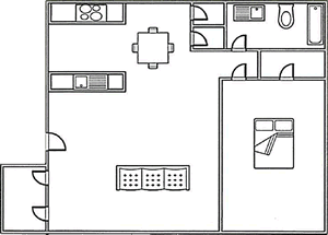 1 bed, 1 bath 645 square foot floor plan