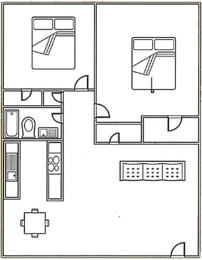 2 bed, 1 bath 860 square foot floor plan