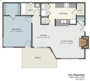 The Magnolia 1x1 764 square foot floor plan