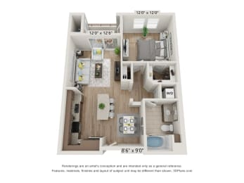 Main Street Village Irvine, CA El Dorado Floor Plan 724 SF