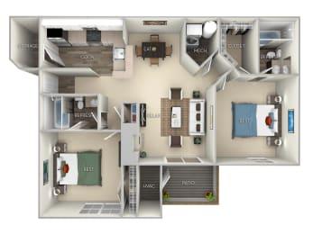 Asten Saratoga Square 2 bedroom 2 bath furnished floor plan apartment in Springfield VA at Saratoga Square, Springfield, Virginia