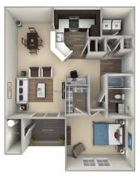 Dogwood Broadlands 1 bedroom 1 bath furnished floor plan at Broadlands, Ashburn, VA