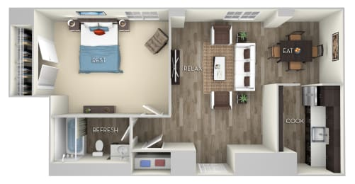 Girard 1 Bed 1 Bath Floor Plan at Columbia Uptown, Washington, Washington