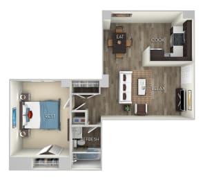 1 Bed 1 Bath Floor Plan at Columbia Uptown, Washington