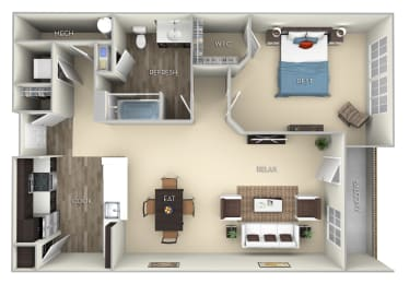 Oxford Kensington Place A 1 bedroom 1 bath furnished floor plan apartment at Kensington Place, Woodbridge, VA, 22191