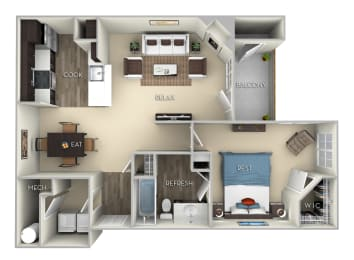 Patriot Kensington Place 1 bedroom 1 bath furnished floor plan apartment  A at Kensington Place, Woodbridge, 22191