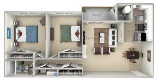 Burke Fairfax Square 2 bedroom 1 bath furnished floor plan apartment in Fairfax VA at Fairfax Square, Fairfax, VA, 22031