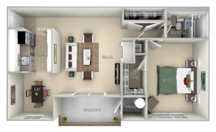 Patriot Fairfax Square 2 bedroom 1 bath furnished floor plan apartment at Fairfax Square, Fairfax, 22031