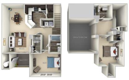 Hawthorne Broadlands 2 bedroom 2 bath furnished floor plan at Broadlands, Ashburn