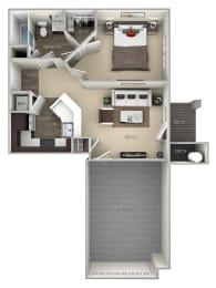 Oak Broadlands 1 bedroom 1 bath furnished floor plan at Broadlands, Virginia, 20148