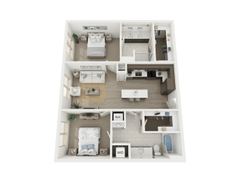 2bd - B1 floor plan at AVE Austin North Lamar, Texas