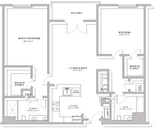 Floor Plan 2 Bed 2 Bath B1B