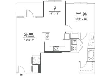 Floor Plan 1x1 E3