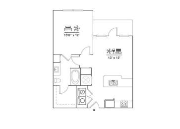 Floor Plan 1x1 A1