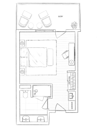 Guest room floorplan at The Q Variel, Woodland Hills, California